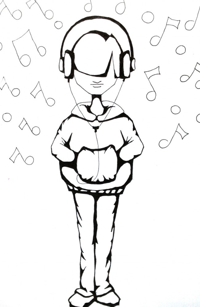 drawing on a young person listening to music with a hoodie and large earphones